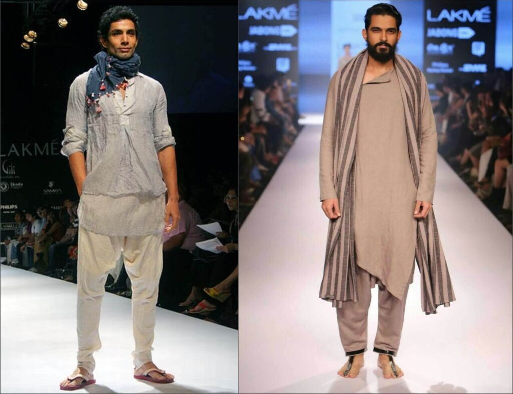 khadi kurta with scarf or stole